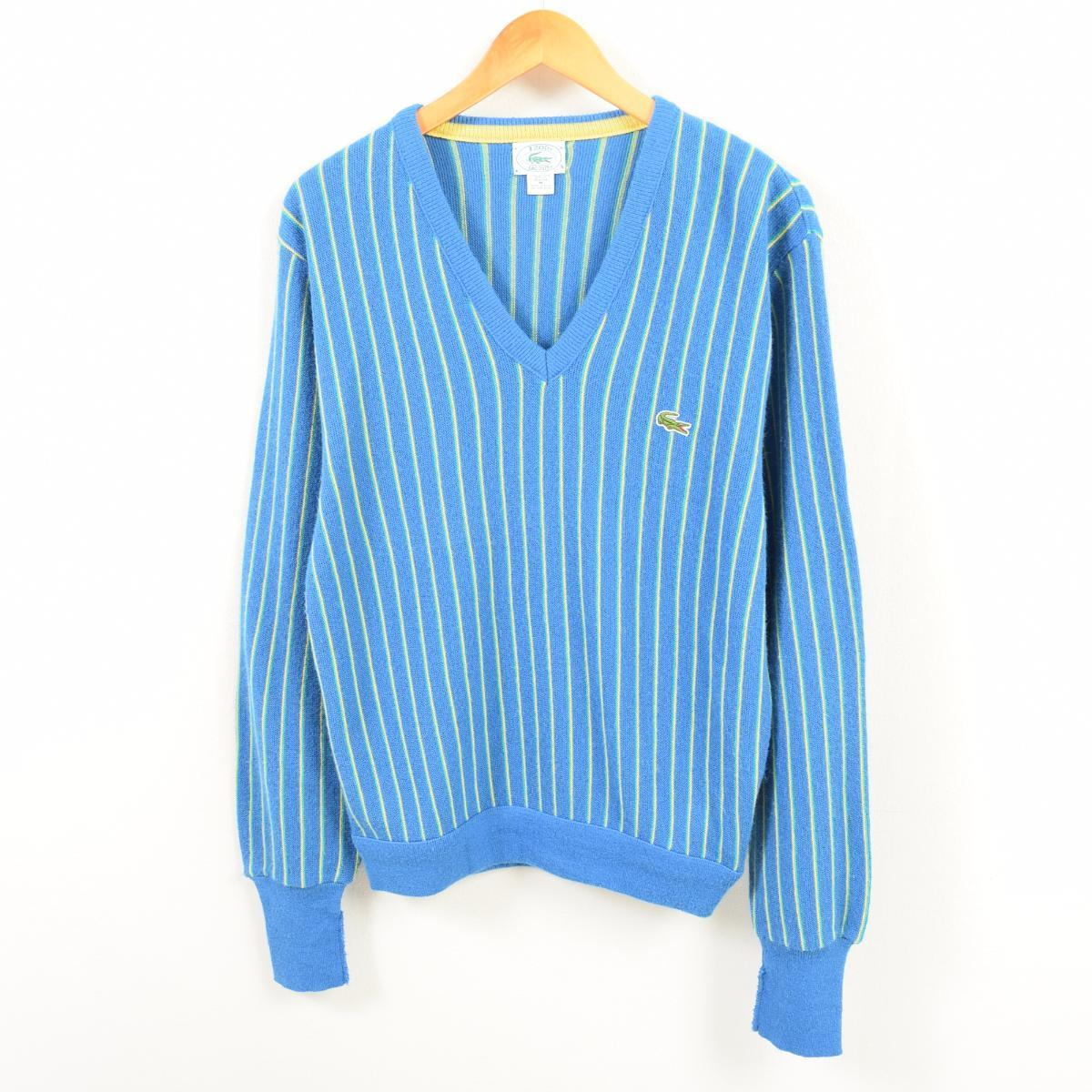 849f8ad4 Men M vintage /wav4541 in the 80~90 generation made in Lacoste LACOSTE IZOD  stripe pattern V neck acrylic knit sweater USA