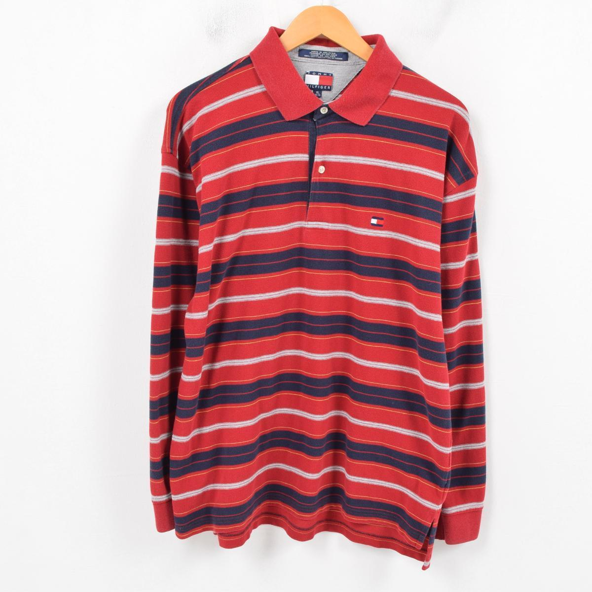 f3af3312 90s トミーヒルフィガー TOMMY HILFIGER long sleeves horizontal stripe polo shirt men  XL /wap7648 ...