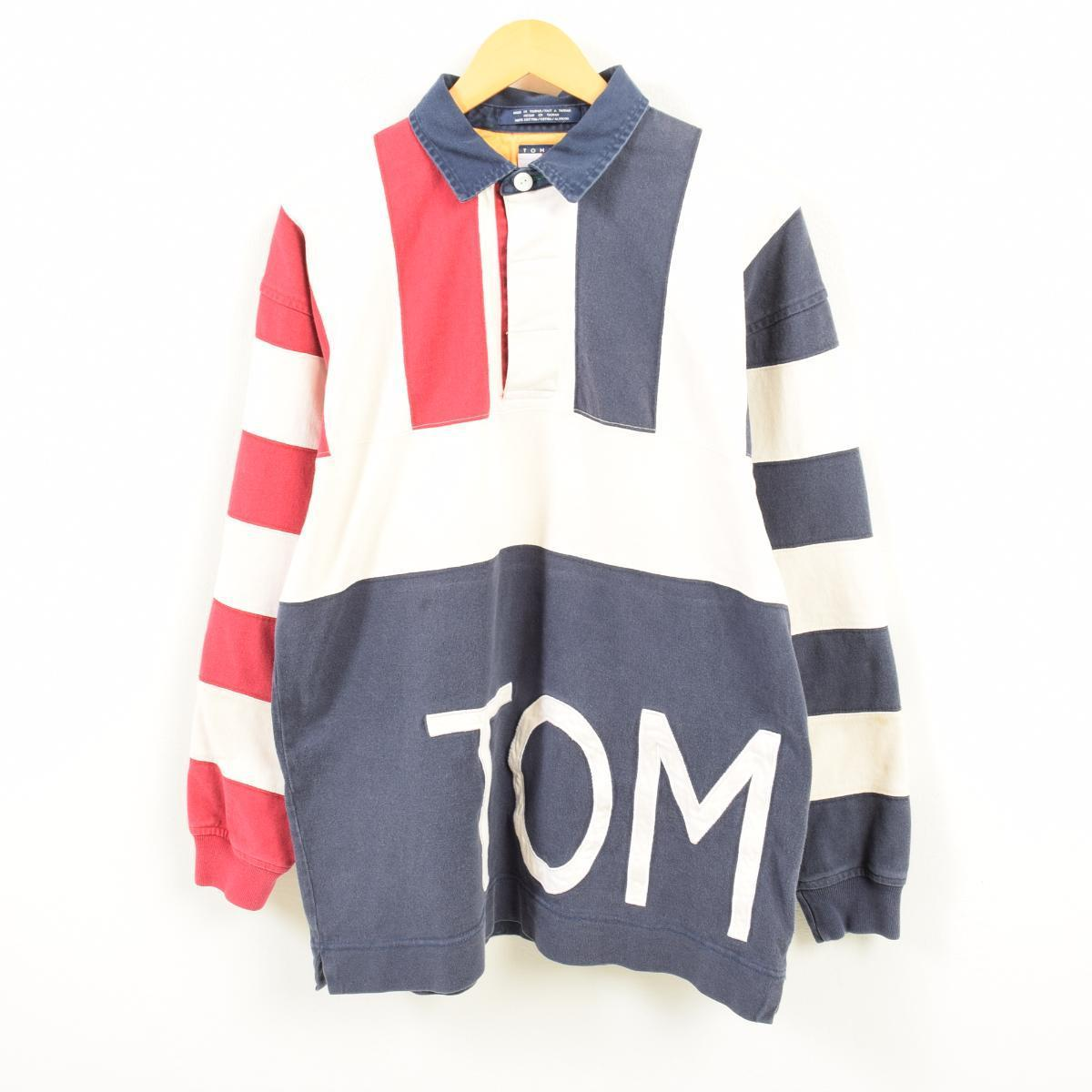 3538d3388 90s トミーヒルフィガー TOMMY HILFIGER decalogo big logo tricolor color long sleeves  rugby shirt men L ...