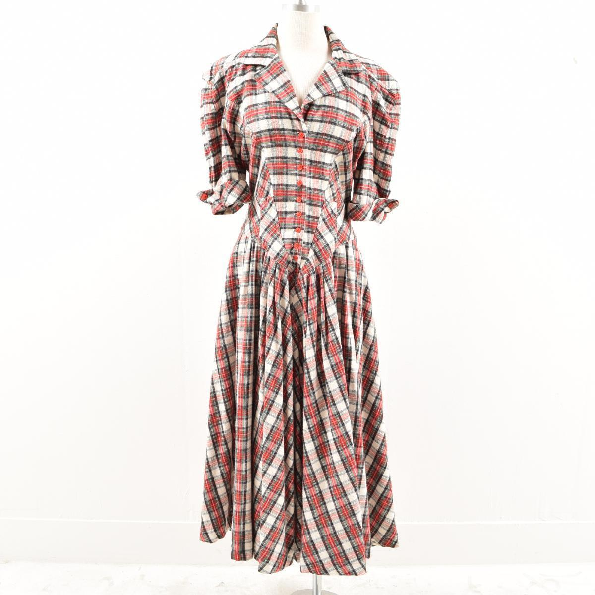 Lady S M Was5873 Made In Karen Alexander Checked Pattern Half Length Sleeves Flannel Shirt Dress Usa
