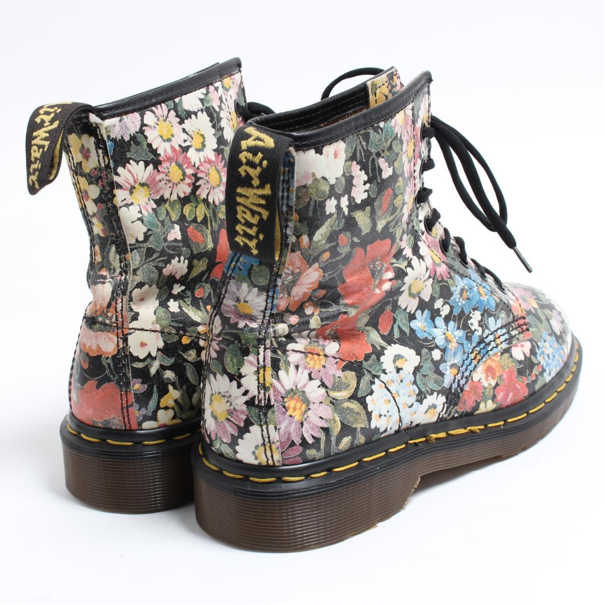 UK7 men 25.5cm /bom6107 made in the doctor Martin Dr.Martens 8 hall boots floral design U.K.