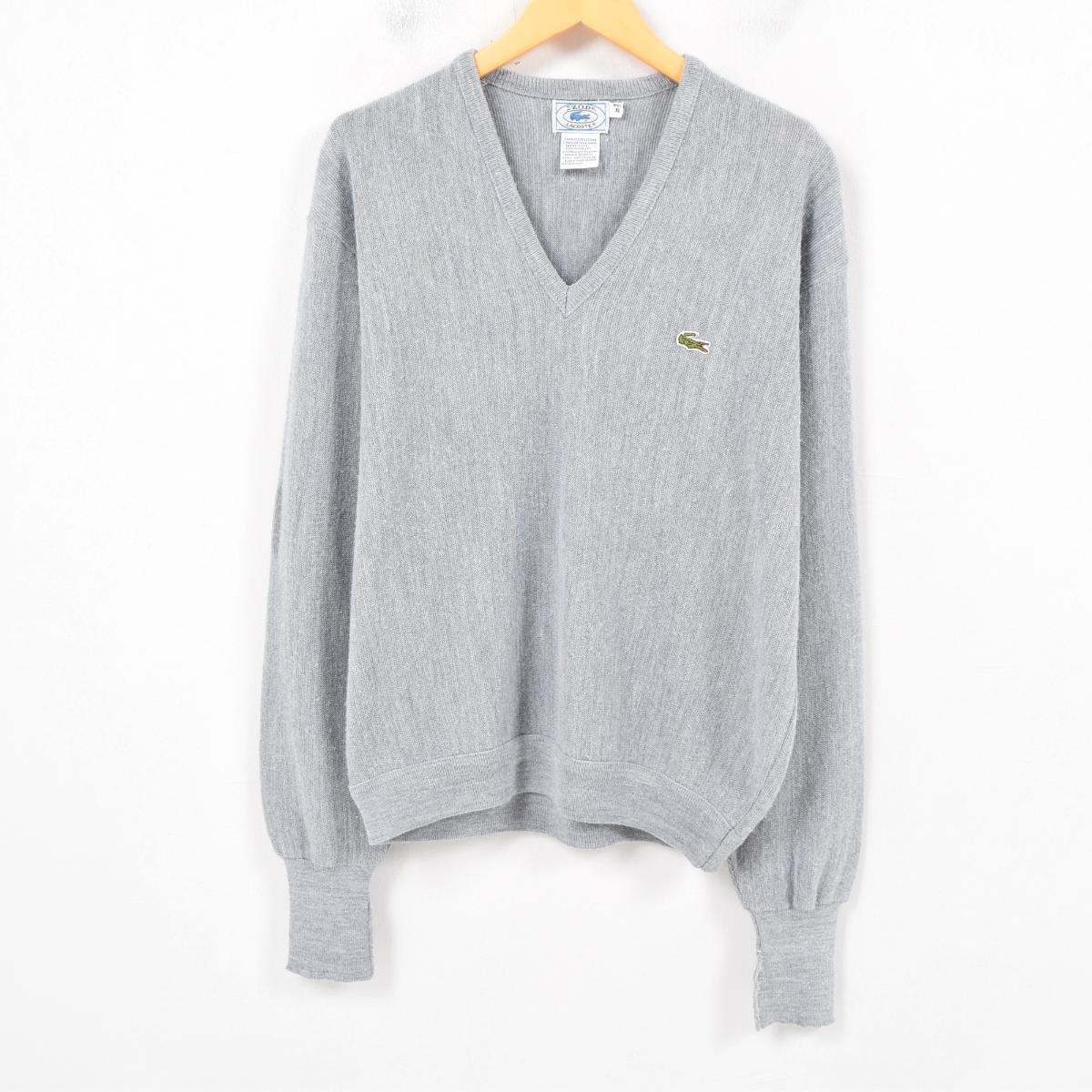 cab977686614a 70-80 generation Lacoste LACOSTE IZOD V neck acrylic knit sweater men XL  vintage  wap8109
