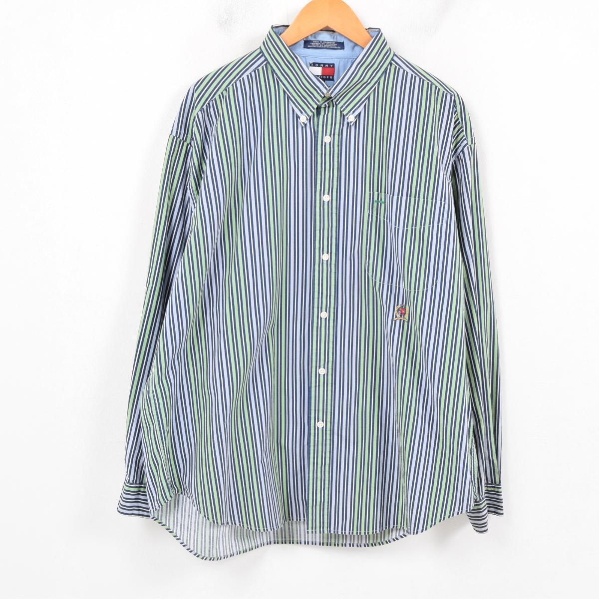 770076c9f5 90s トミーヒルフィガー TOMMY HILFIGER multi-stripe long sleeves stripe shirt men XL  /wap8169 ...