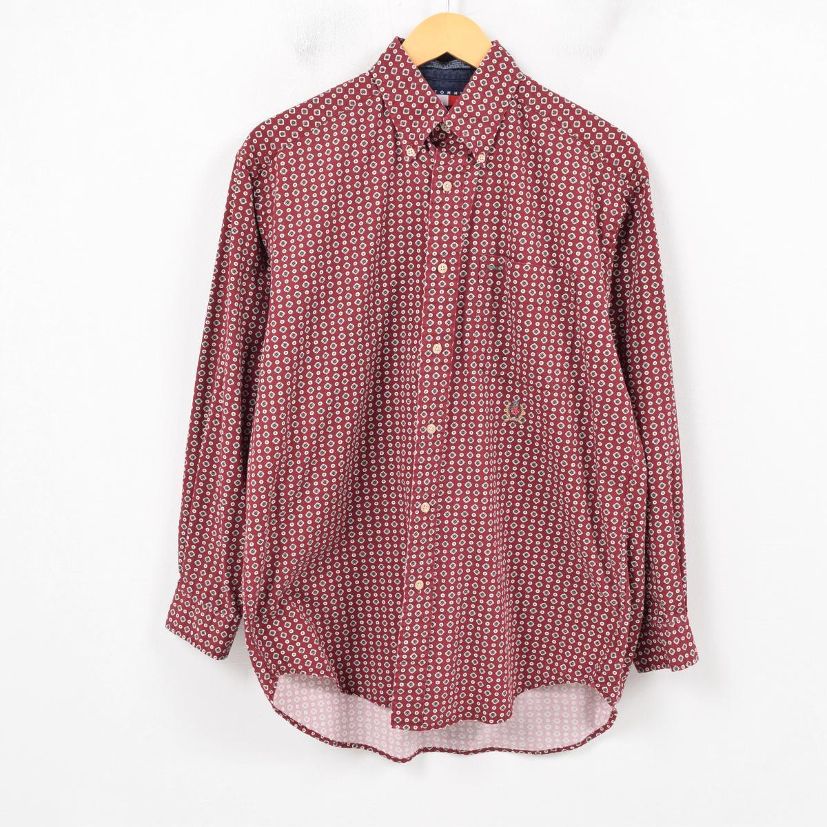 3cb70b40 90s トミーヒルフィガー TOMMY HILFIGER whole pattern long sleeves button-down shirt  men S /wap8205