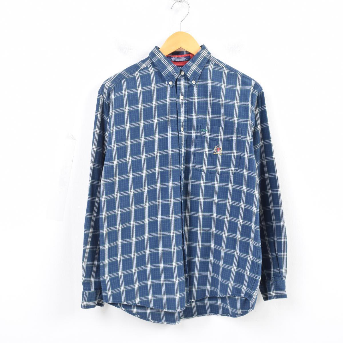 90s トミーヒルフィガー TOMMY HILFIGER long sleeves check shirt men S was4217 who are button downed