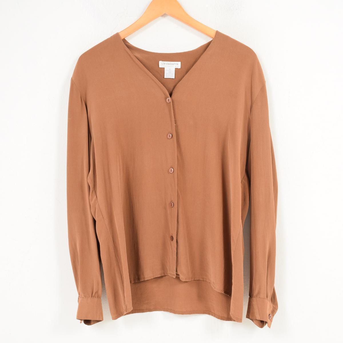 879eae9da4a117 Riz Claiborne Liz Claiborne no-collar long sleeves silk shirt Lady's L  /wat8583 ...
