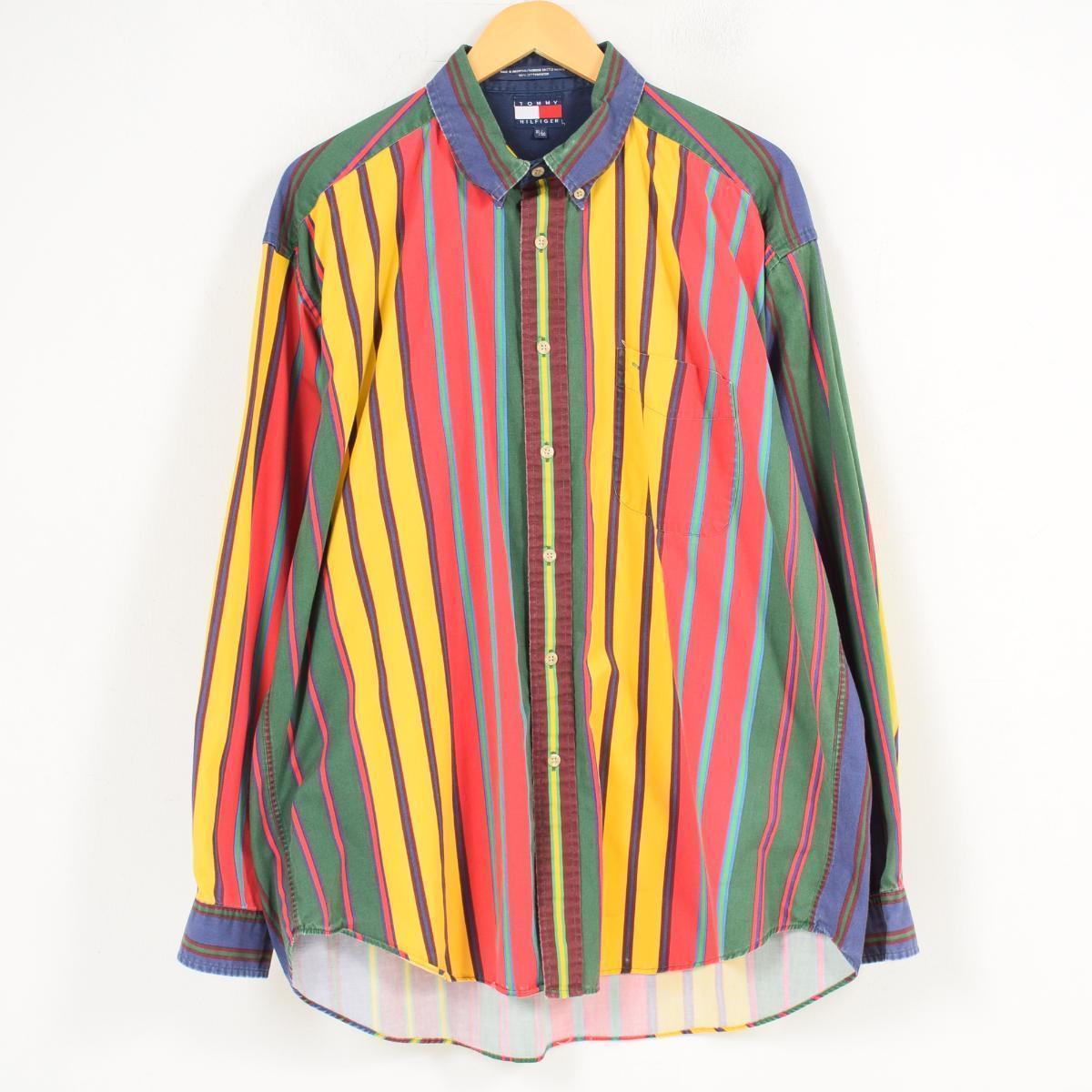 1258054648 90s トミーヒルフィガー TOMMY HILFIGER multi-stripe long sleeves stripe shirt men XL  /wat8460 ...