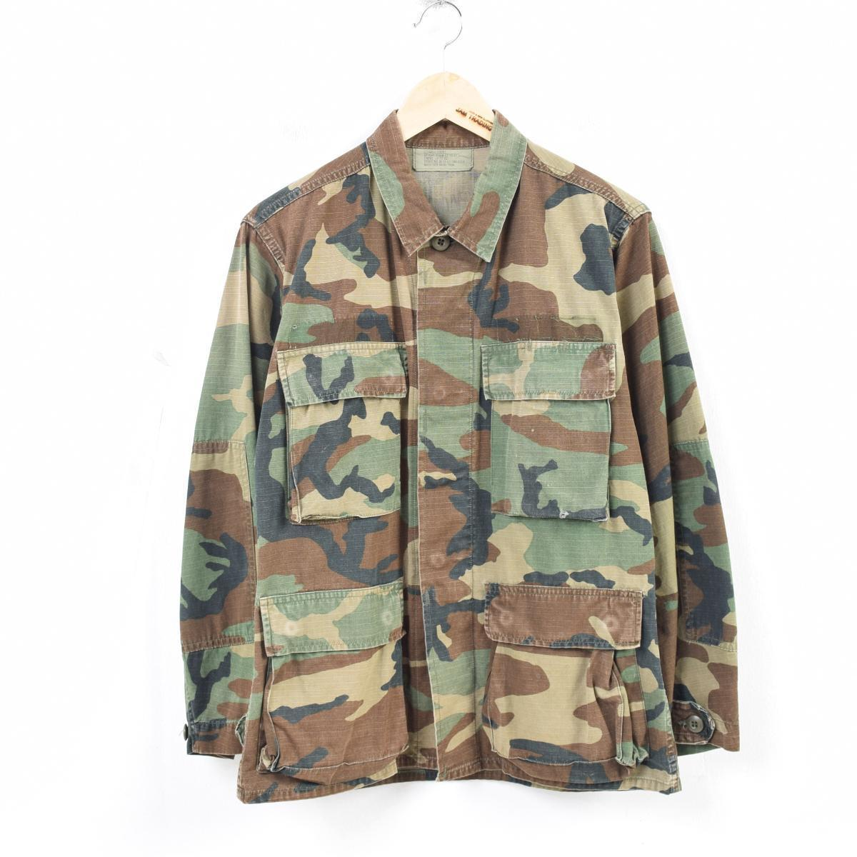 2b081e5684f85 Men S vintage /wau0441 for 88 years made in delivery of goods U.S. forces  true article Woodland duck camouflage B.D.U military shirt USA