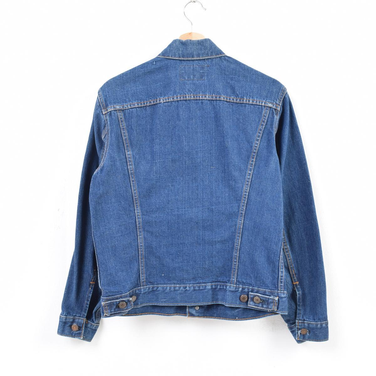 51c7299518928 Men M vintage  was7602 in the dark blue 70s made in denim jacket G Jean USA  with the Levis Levi s 70505 0217 care tag