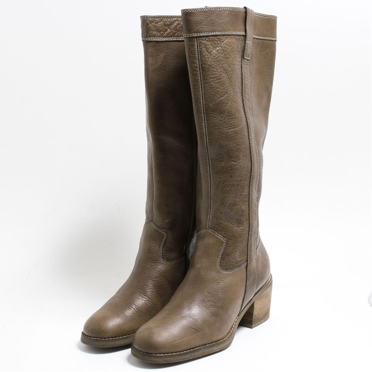 ECCO long boots 38 Lady's 24.0cm bon7125