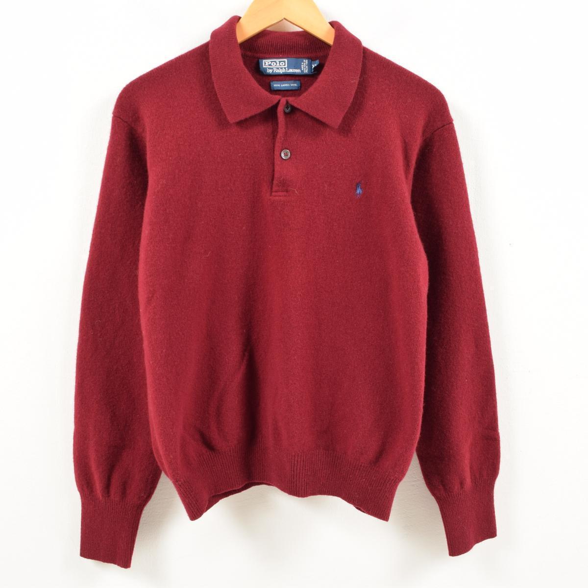 Ralph Lauren Polo By Long Sleeves Lamb S Wool Knit Shirt Men M Wax2529