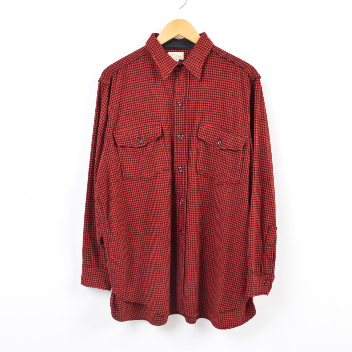 14170b3a32f59 VINTAGE CLOTHING JAM: 60s L. L. Bean L.L.Bean flowing script tag gingham  check wool shirt men M vintage /was7921 | Rakuten Global Market