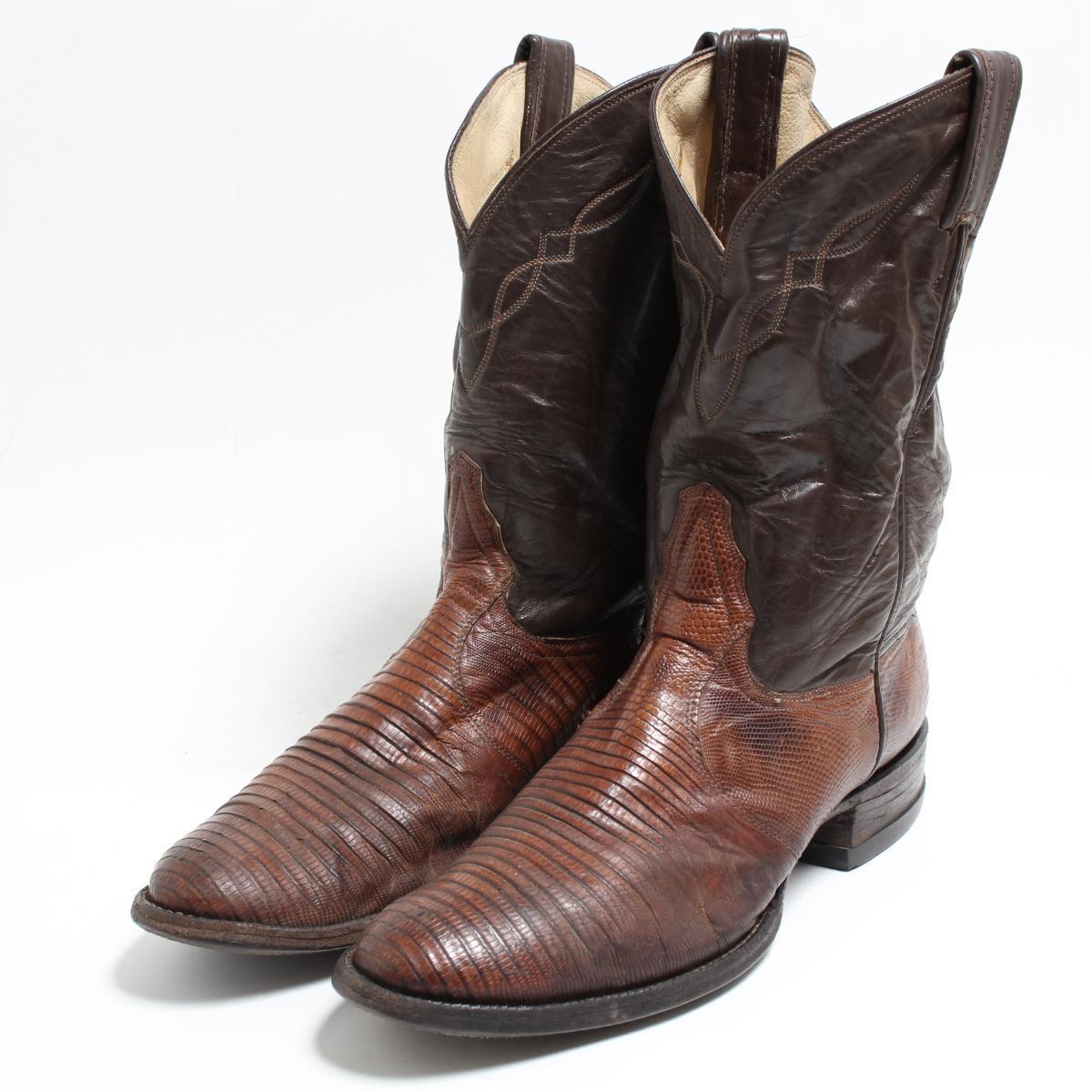 a3c8ec0f311 Tony llama Tony Lama gold label lizard leather western boots 8D men 26.5cm  vintage /bon6421