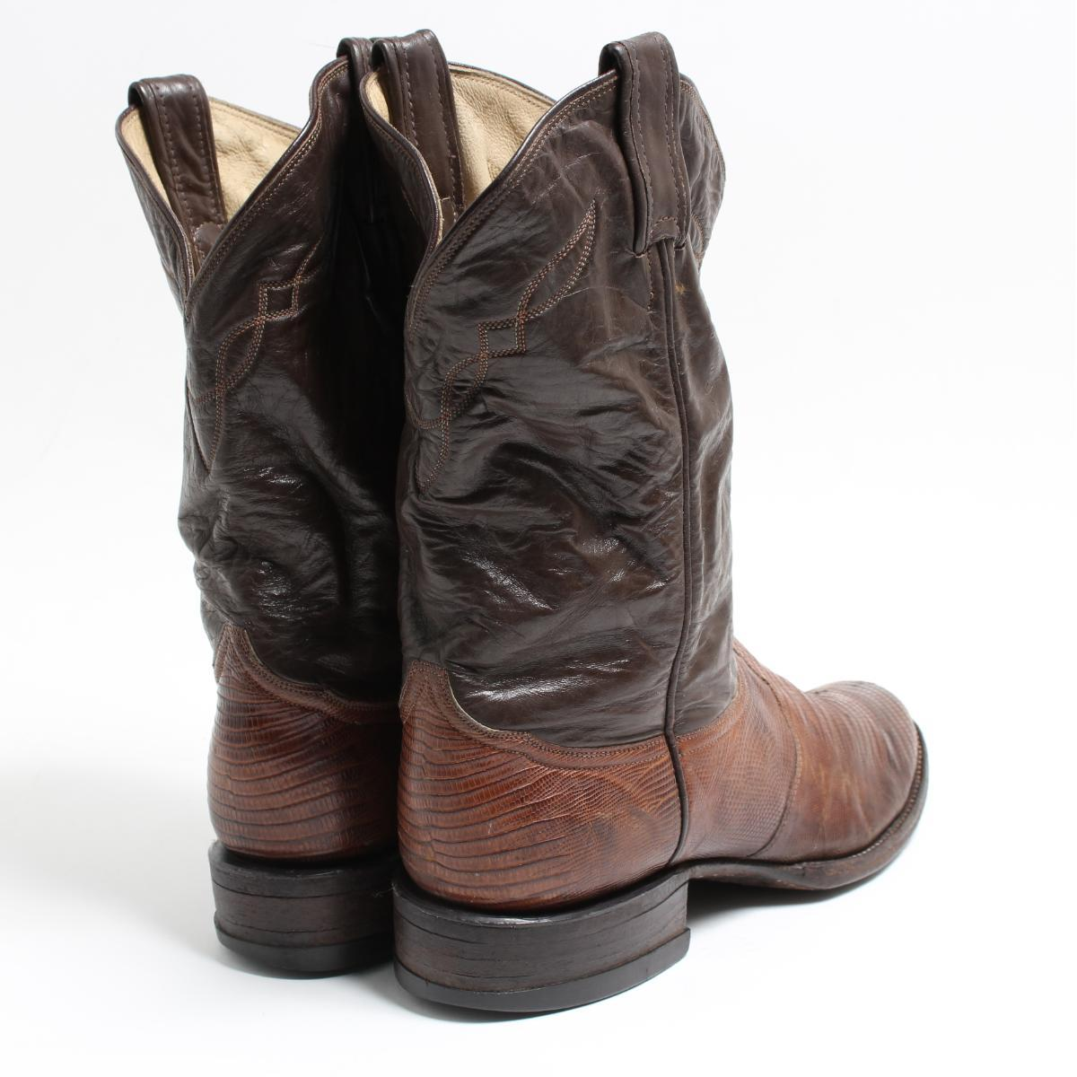 a3c8ec0f311 Tony llama Tony Lama gold label lizard leather western boots 8D men 26.5cm  vintage /bon6421