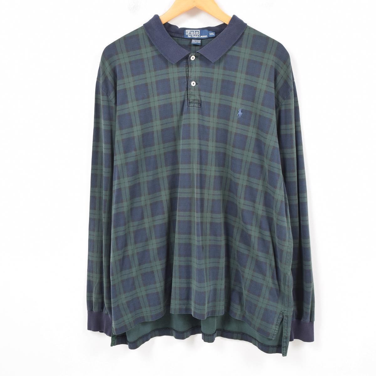 Polo Xxl Lauren Watch Shirt Ralph Long By Black Sleeves Wau8721 Check Men vN8nwPy0Om