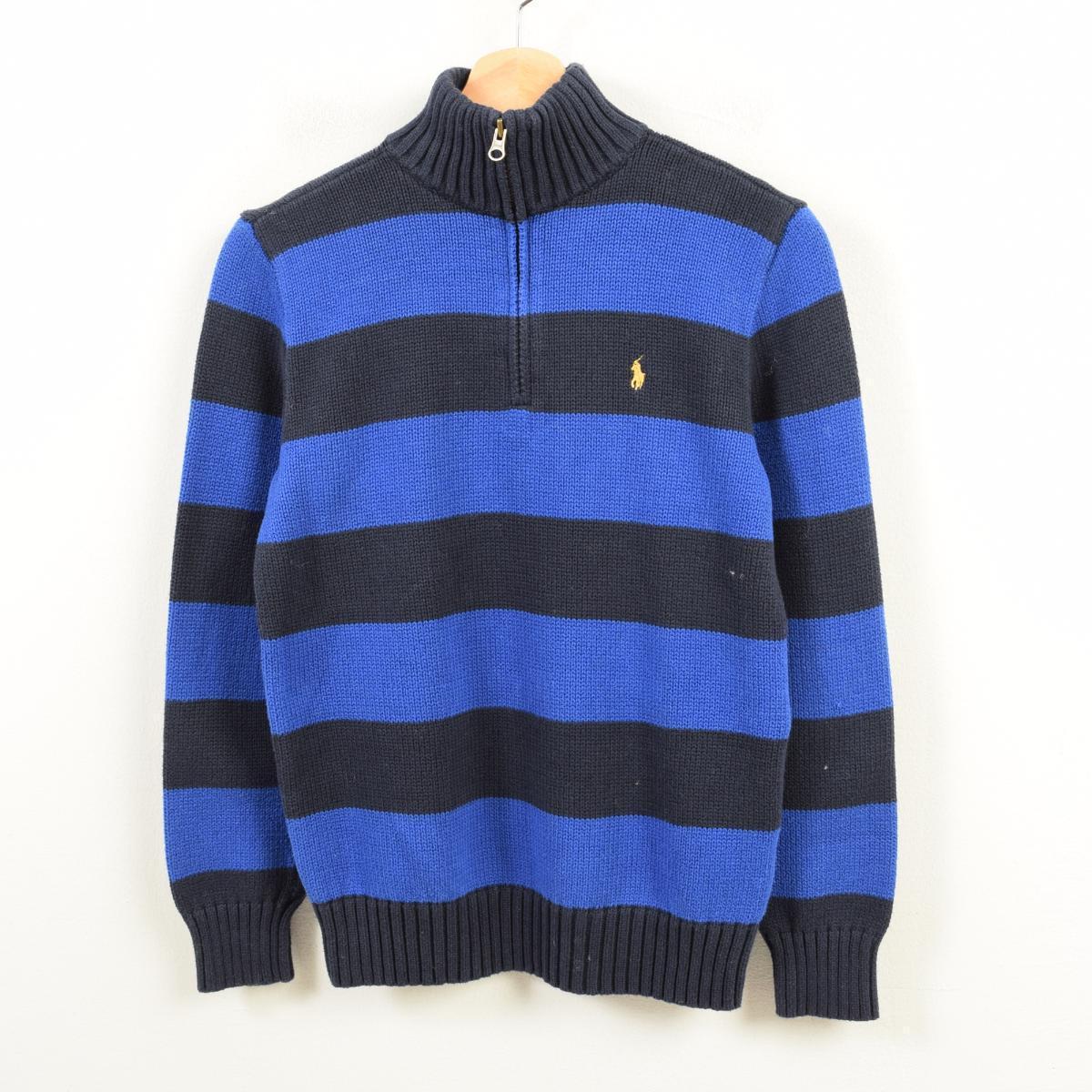 890cdcc6c Ralph Lauren Ralph Lauren POLO by Ralph Lauren horizontal stripes cotton  knit half zip sweater Lady s L  was9470