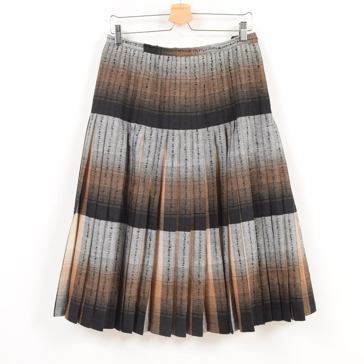 f6878beb0b 50s Highland Queen horizontal stripes reversible wool long pleated skirt  Lady's L vintage /wax5224 ...