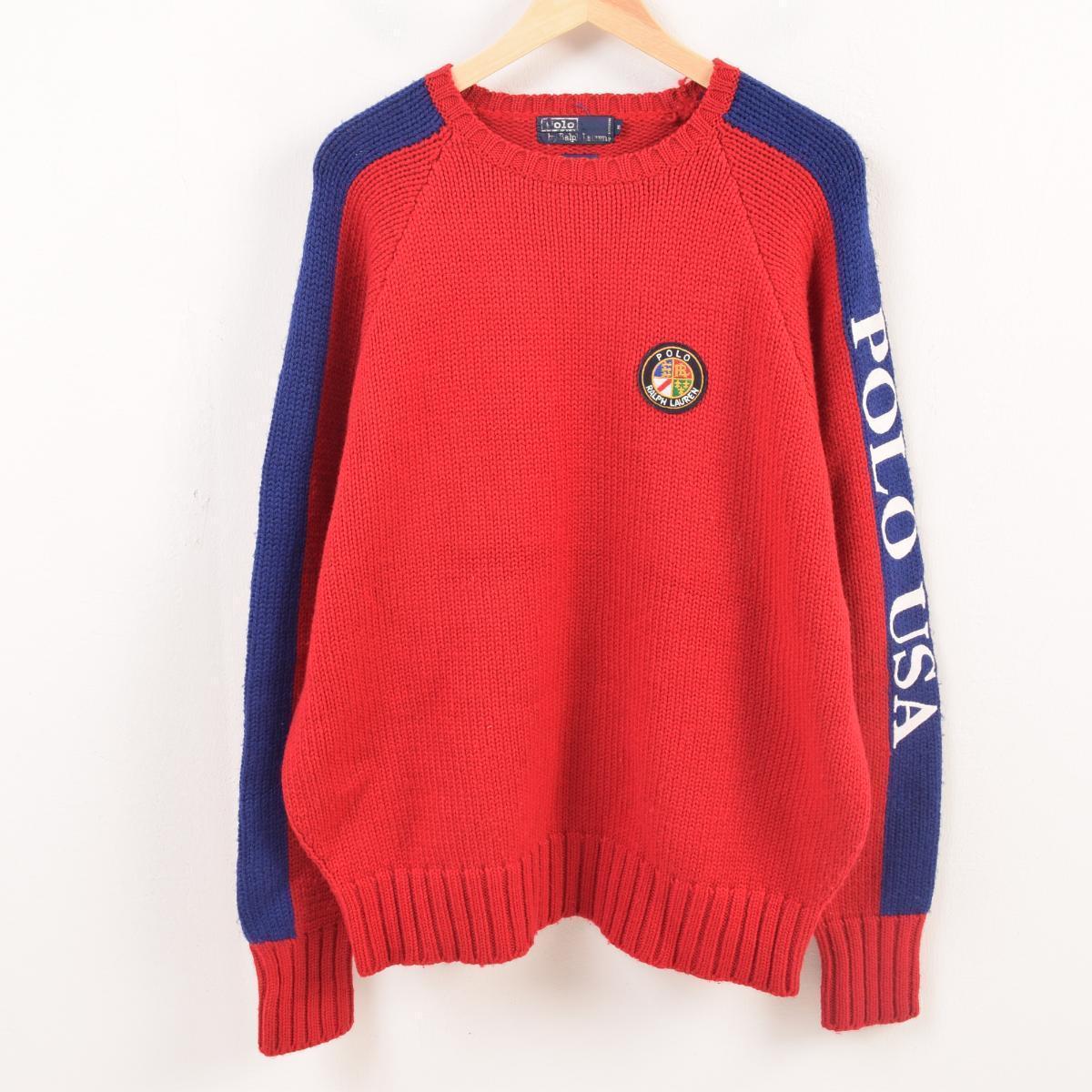 19cd7f0616 90s Ralph Lauren Ralph Lauren POLO by Ralph Lauren cookie emblem sleeve  embroidery wool knit sweater men XL  wba8722