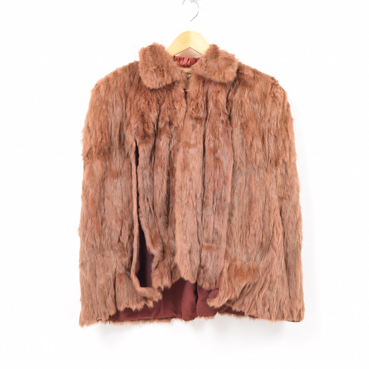 ~60年代 Fred Benicff Furs リアルファー 襟付き ケープ フリーサイズ ヴィンテージ /wba1219 【中古】 【190110】