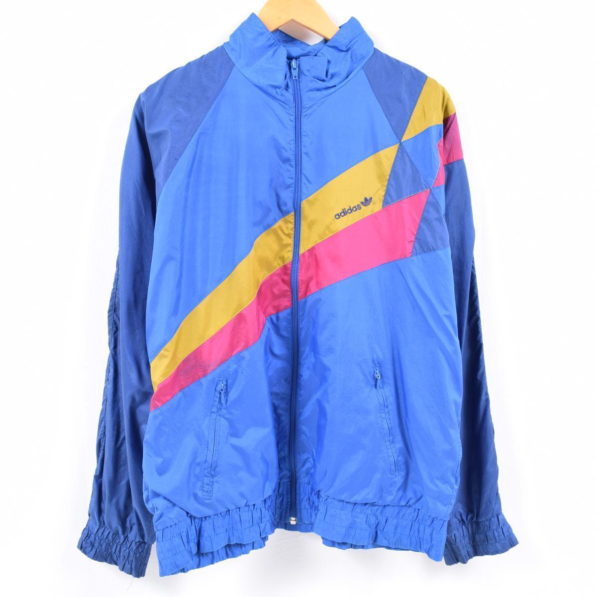 80~90 generation Adidas adidas flock print nylon jacket men L vintage wba7656