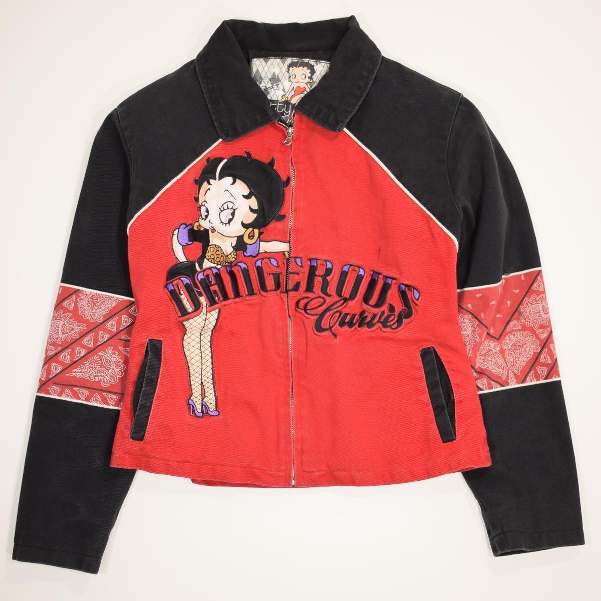 ベティブープ Betty Boop 刺繍 フルジップ コットンジャケット レディースS /wba0603 【中古】 【190113】