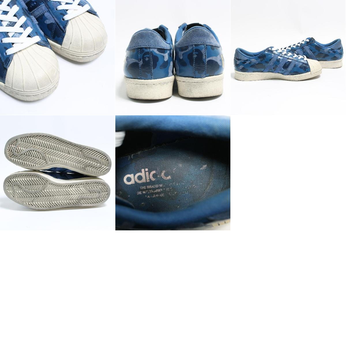 Rare triple name Adidas adidas X Undefeated X Bape SUPERSTAR superstar 80s sneakers US6 Lady's 24.0cm bon4924