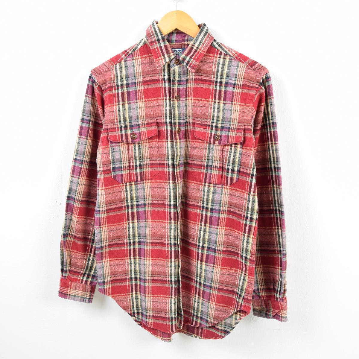 e43f3ff4 Checked pattern long sleeves heavy flannel shirt men S /wbb2031 with the Ralph  Lauren Ralph ...