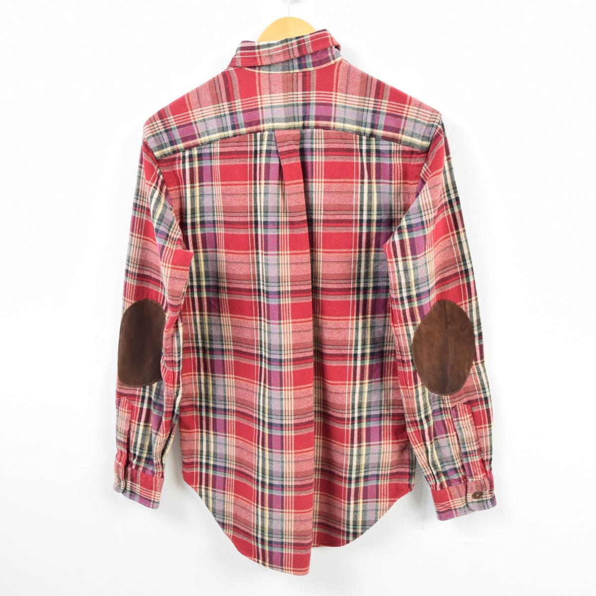 55dbfaa7 ... Checked pattern long sleeves heavy flannel shirt men S /wbb2031 with  the Ralph Lauren Ralph ...