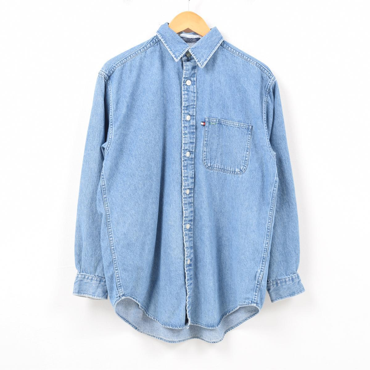 36697ce6 90s トミーヒルフィガー TOMMY HILFIGER JEANS long sleeves denim shirt men S /wbb0998  ...