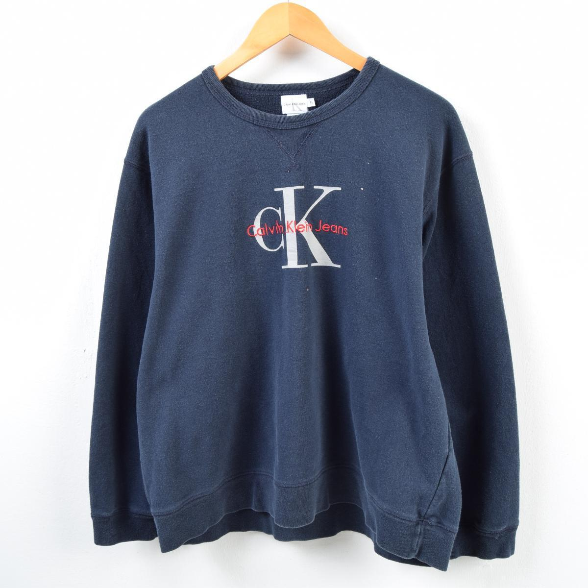 5a489d606 90s Calvin Klein Calvin klein JEANS logo sweat shirt trainer men L /wbc9612