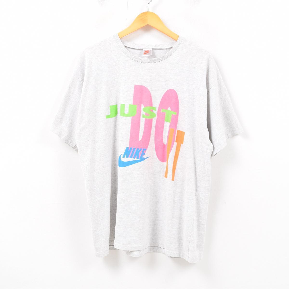 38053ab39d824 90s Nike NIKE silver tag JUST DO IT logo T-shirt men L /wbb0000