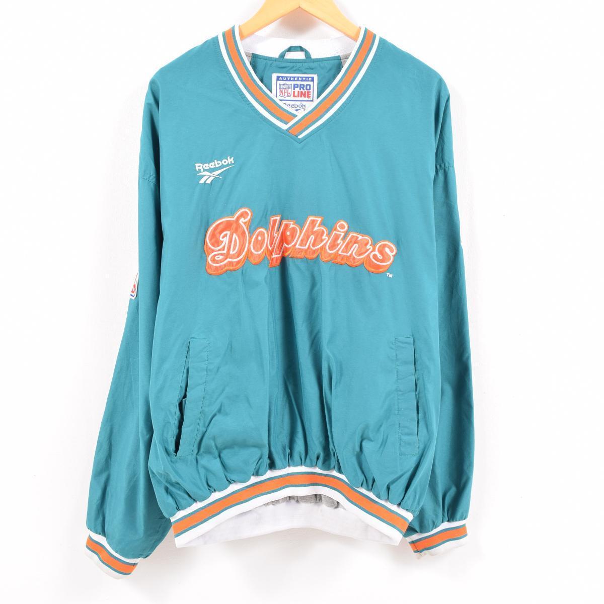 promo code 57aa9 8a552 90s Reebok Reebok NFL MIAMI DOLPHINS Miami Dolphins warm-up pullover men XL  /wbc6455
