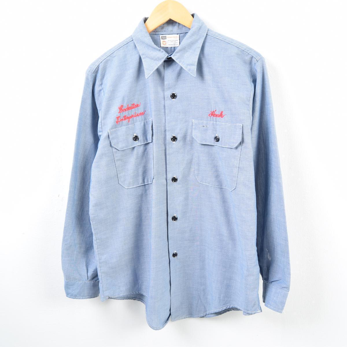 35a2ee70 60-70 generation Sears Sears long sleeves work shirt men M vintage /wbc7029  ...