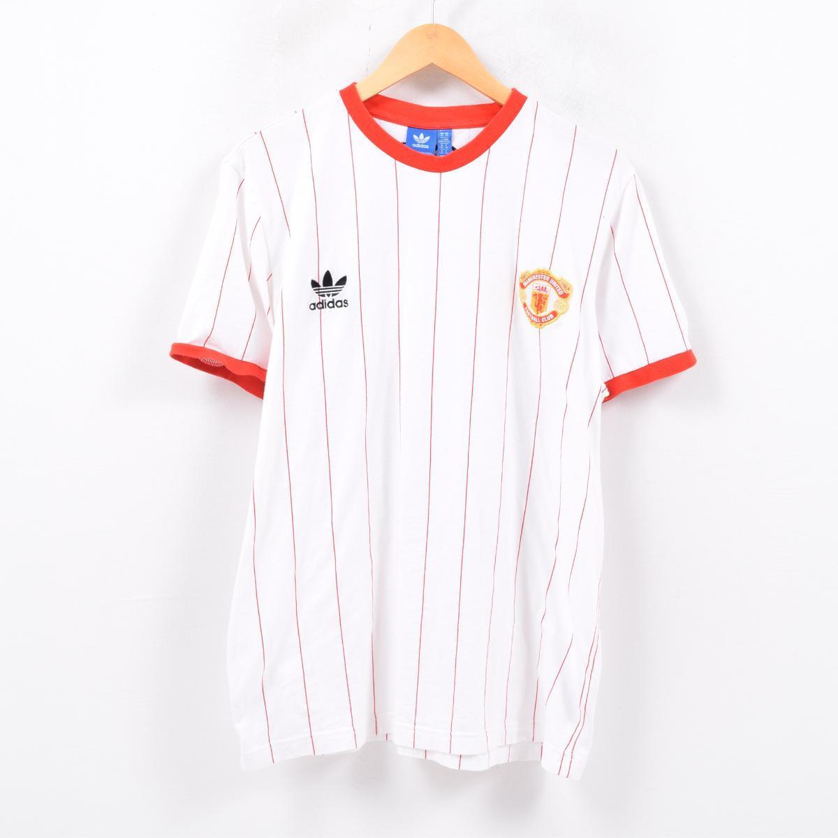 9f324318c Adidas adidas ORIGINALS originals MANCHESTER UNITED Manchester United  stripe pattern ringer T-shirt men L  wbd4035