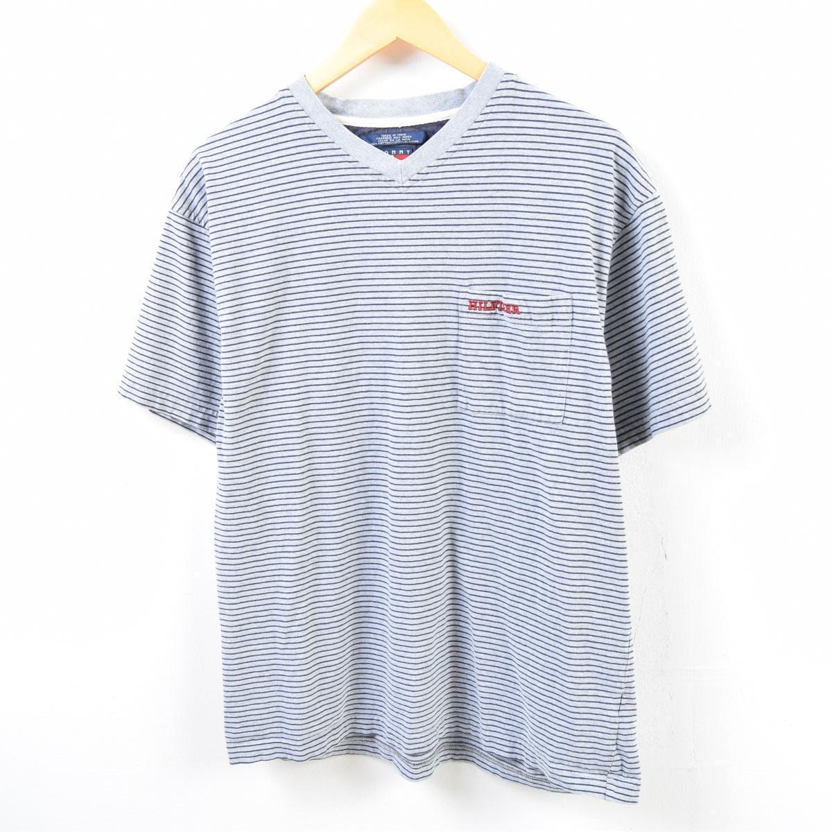660dc8691c 90s トミーヒルフィガー TOMMY HILFIGER horizontal stripes V neck one point logo  pocket T-shirt men L /wbb5862