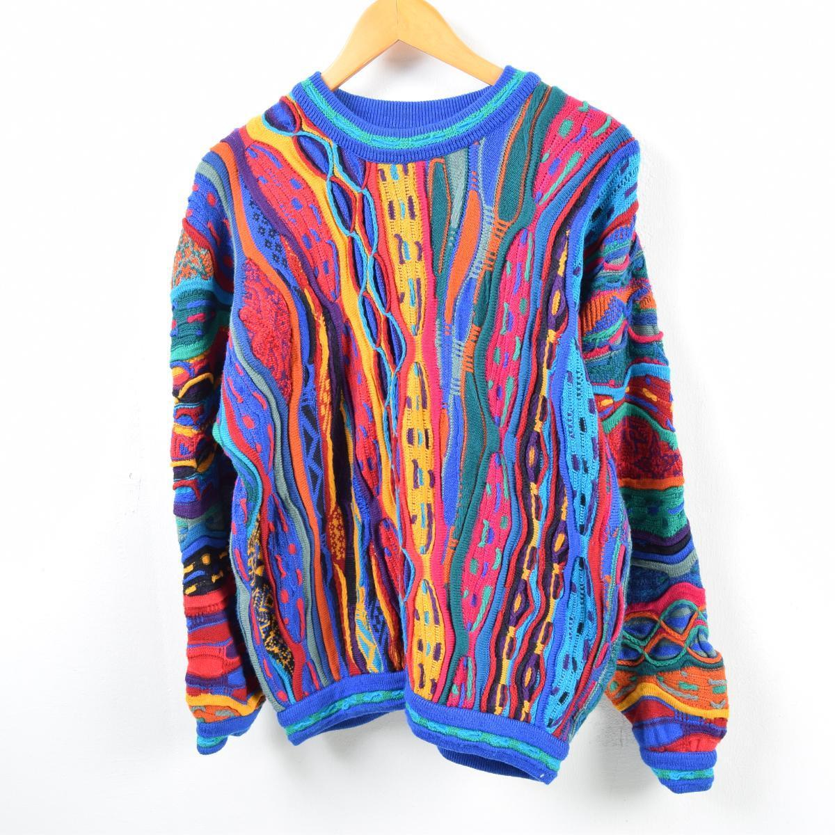 Men M /wbb4625 in the rare size 90s made in Cousy COOGI whole pattern wool  knit sweater Australia