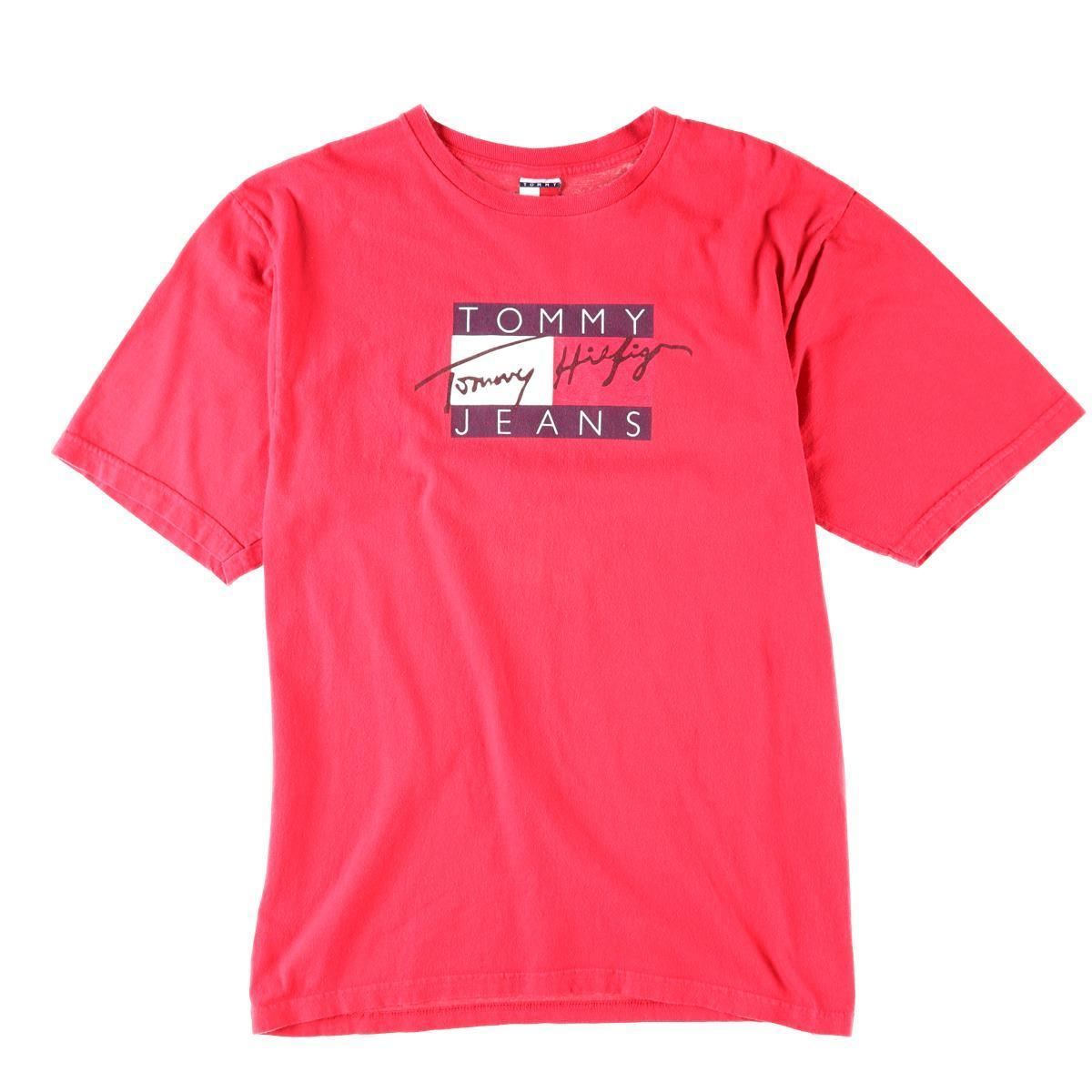 希少 90年代 トミーヒルフィガー TOMMY HILFIGER JEANS デカロゴ ビッグロゴ ロゴプリントTシャツ USA製 メンズXL ヴィンテージ /wbb7218 【中古】 【190429】【VTG】【SVTG】