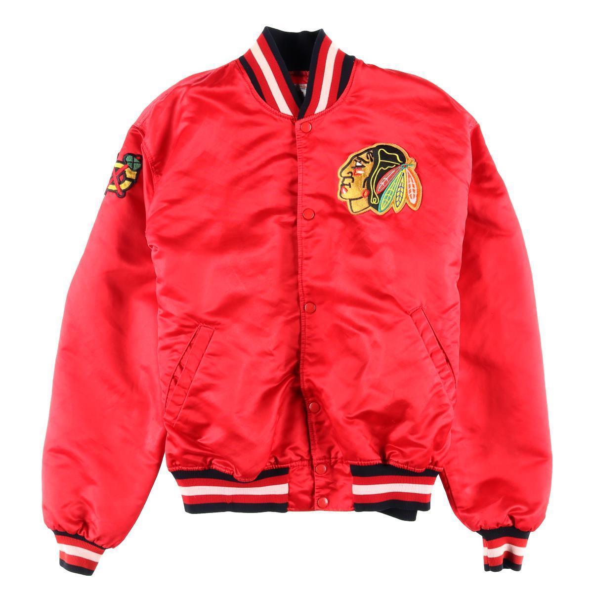 90年代 スターター Starter NHL CHICAGO BLACKHAWKS シカゴブラックホークス ナイロンスタジャン アワードジャケット USA製 メンズXL /wbf3290 【中古】 【190609】【VTG】