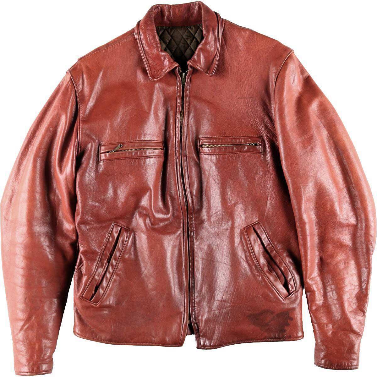 70年代 UNKNOWN レザースポーツジャケット メンズM ヴィンテージ /wbh7541 【中古】 【190909】【VTG】【SS2003】