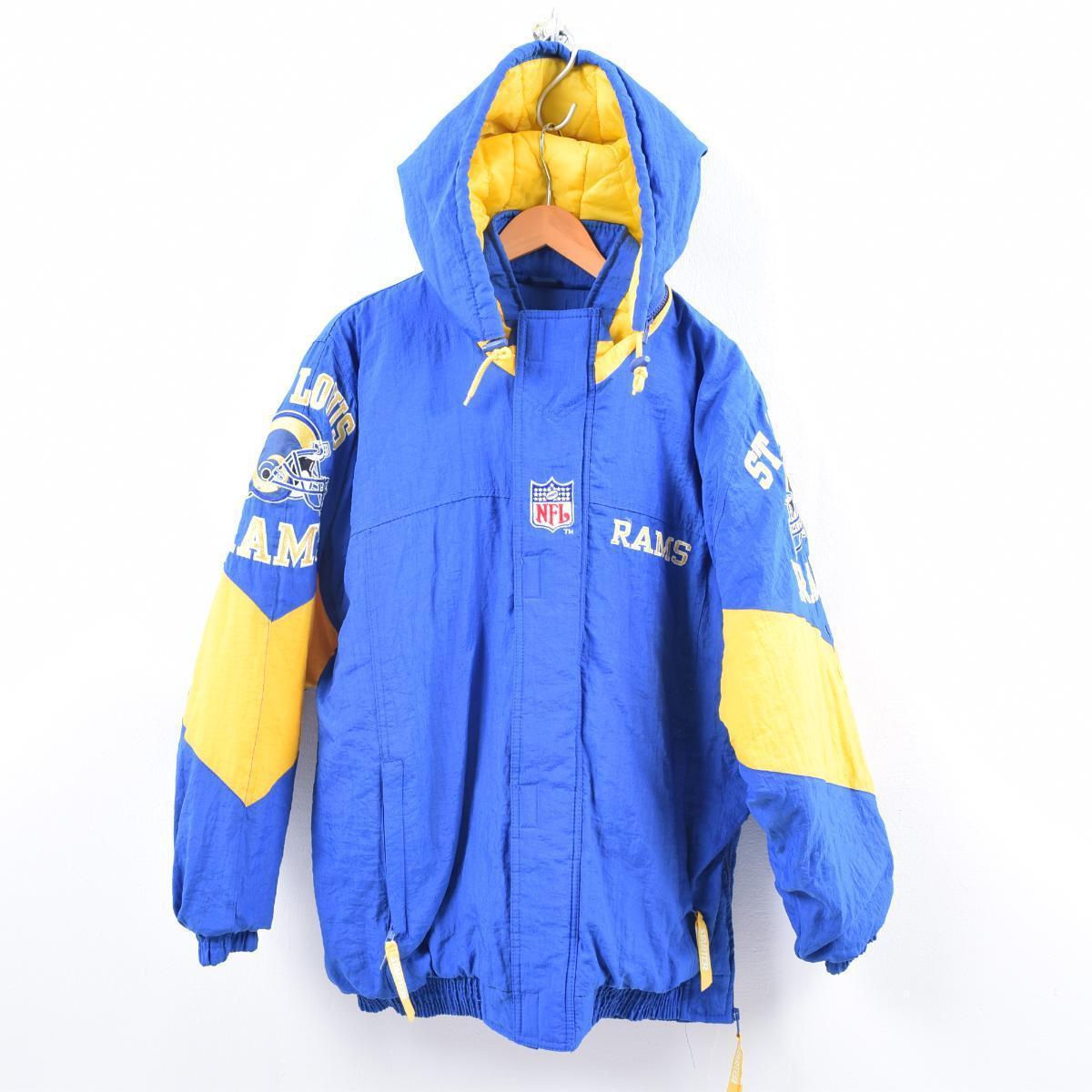 90年代 スターター Starter NFL ST. LOUIS RAMS セントルイスラムズ フード付き 中綿ジャケット メンズXL /wbi0920 【中古】 【191014】【PD191219】【CS2003】【【SS2003】】