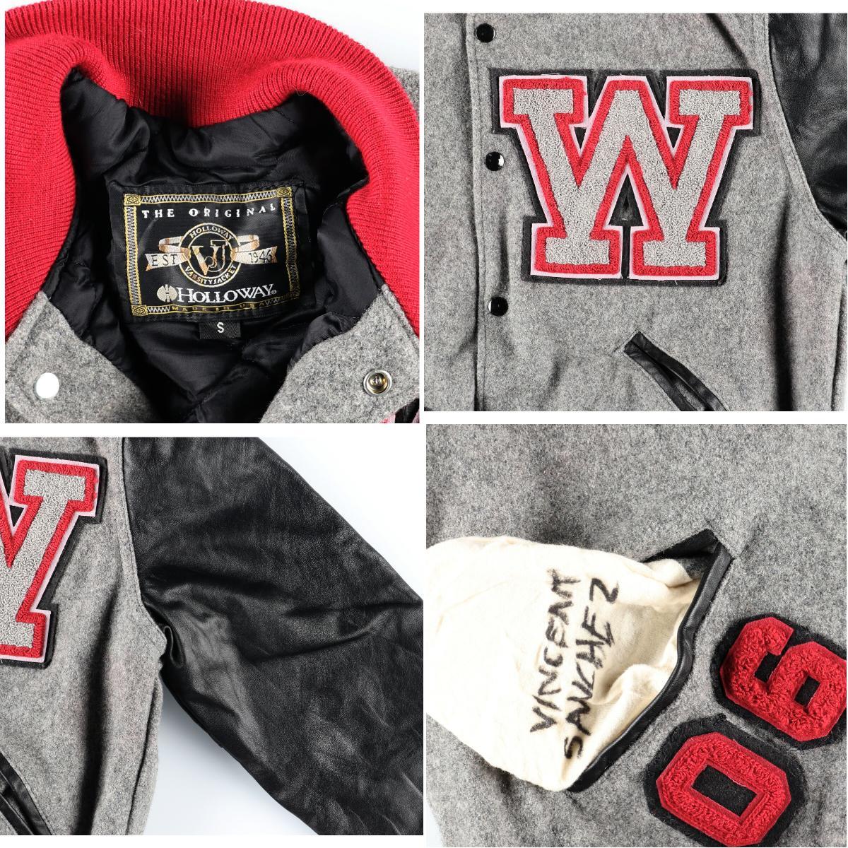 HOLLOWAY 袖革ウールスタジャン アワードジャケット USA製 メンズSwbi8553191212PD202 2CS2003SS2006DeW2IYEbH9