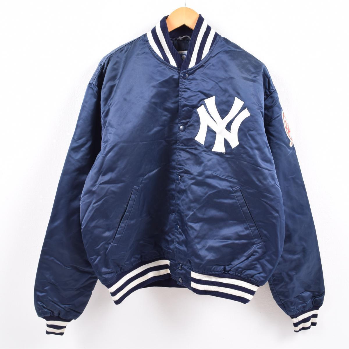 80~90年代 スターター Starter MLB NEW YORK YANKEES ニューヨークヤンキース ナイロンスタジャン アワードジャケット USA製 メンズXL ヴィンテージ /wca000978 【中古】 【191226】【VTG】