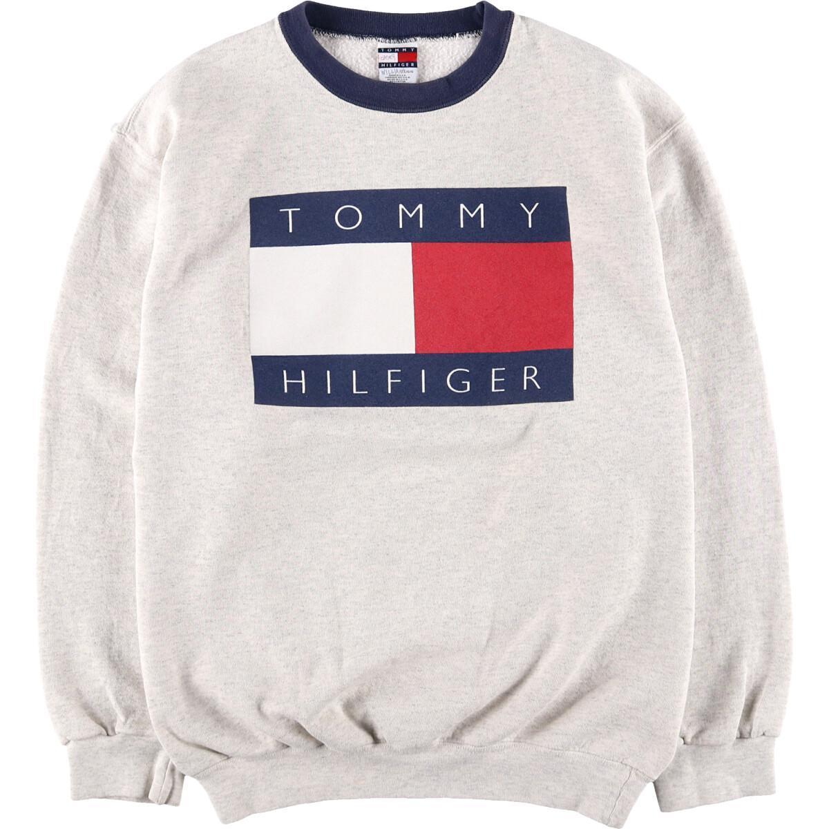 90年代 トミーヒルフィガー TOMMY HILFIGER プリントスウェットシャツ トレーナー USA製 レディースL ヴィンテージ /wca003027 【中古】 【200109】