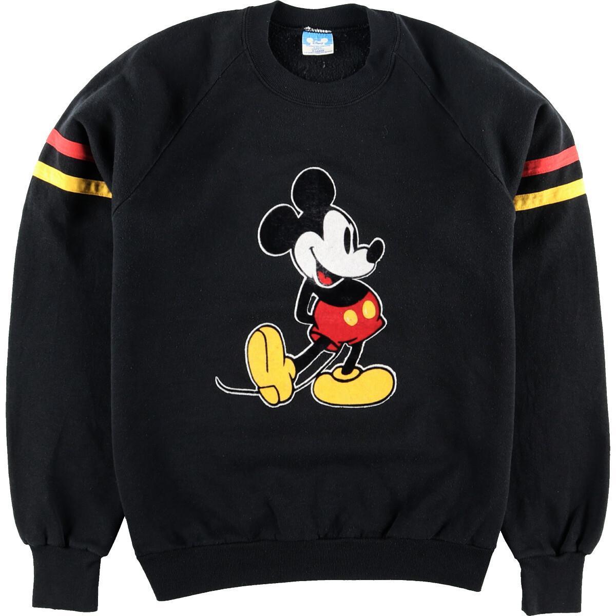 80年代 DISNEY CHARACTER FASHIONS MICKEY MOUSE ミッキーマウス フロッキープリント キャラクタースウェットシャツ トレーナー USA製 レディースM ヴィンテージeaa003253200127OXuPTkiZ