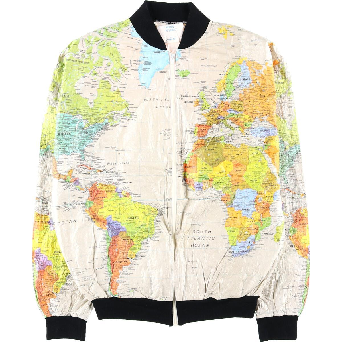 WEARIN' THE WORLD 地図柄 ペーパージャケット メンズM ヴィンテージ /eaa002826 【中古】 【200130】