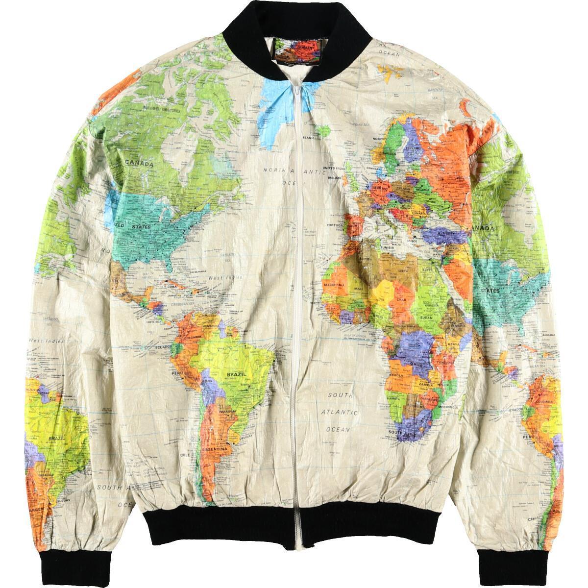 90年代 WEARIN' THE WORLD 地図柄 ペーパージャケット メンズXL /eaa002827 【中古】 【200203】