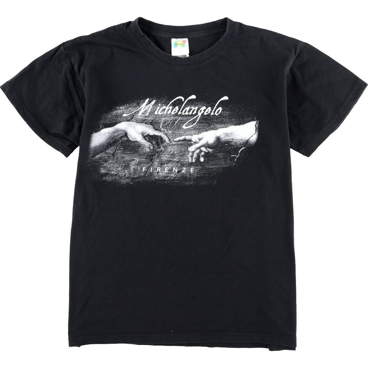 90年代 MORE ミケランジェロ アダムの創造 アートTシャツ メンズM ヴィンテージ グラフィックTシャツ /eaa020434 【中古】 【200412】【SVTG】