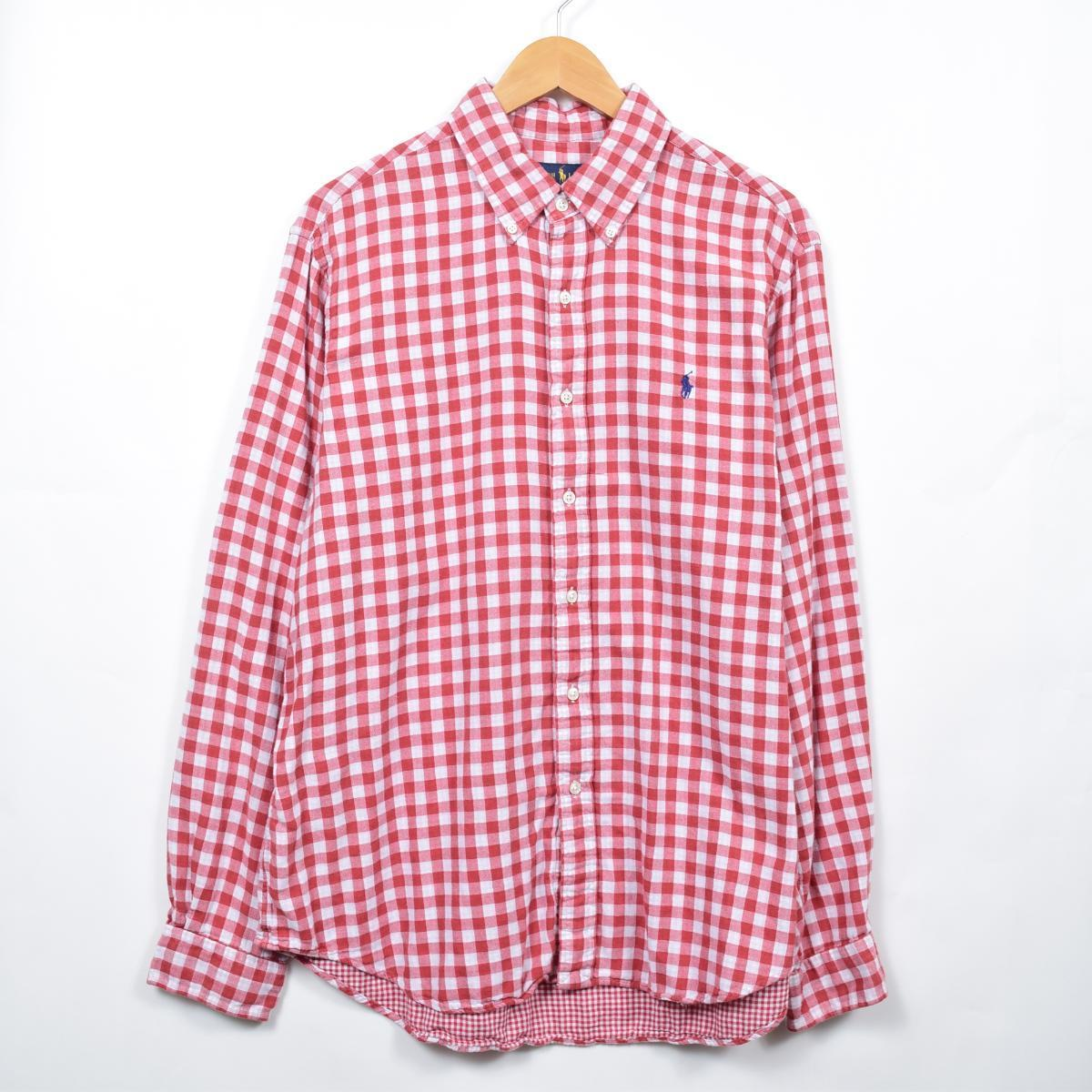 ラルフローレン Ralph Lauren 長袖 ボタンダウンチェックシャツ メンズL /eaa033308  【200518】【SS2009】:古着屋JAM