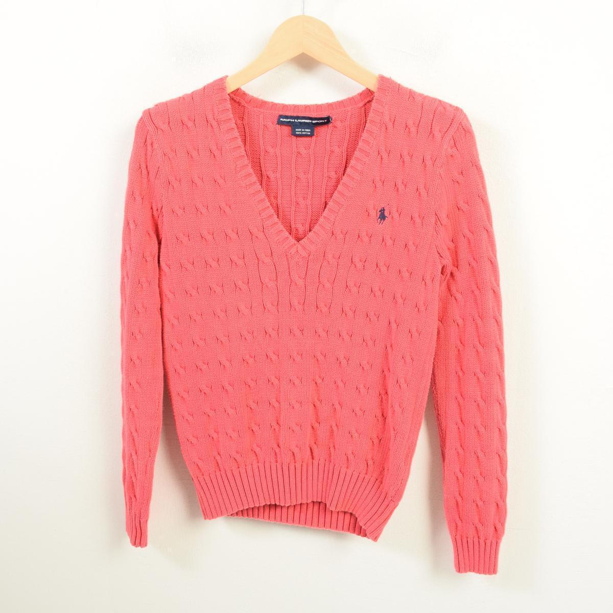 Ralph V Sweater Cotton Sports Lauren Sport Neck Knitting S Knit Lady's Wau3855 Polo Cable c43LA5qSRj