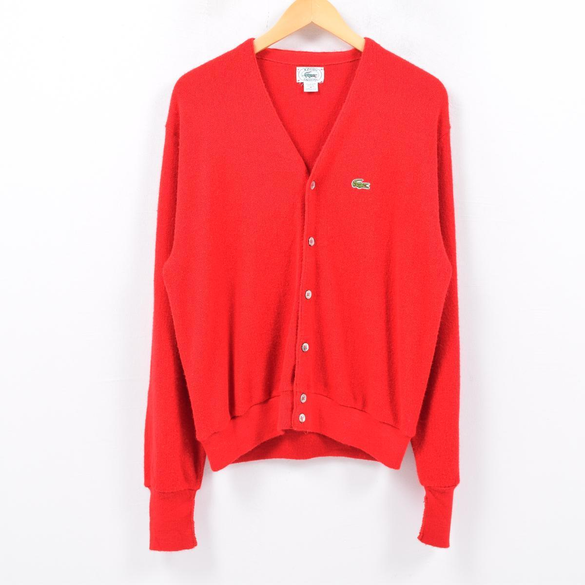 baa9f180f Men XL vintage  wbc4806 in the 80s made in Lacoste LACOSTE IZOD acrylic  knit cardigan USA
